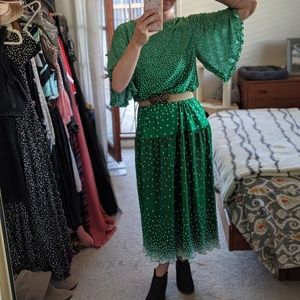 Vintage Green and White Polka Dot Dress